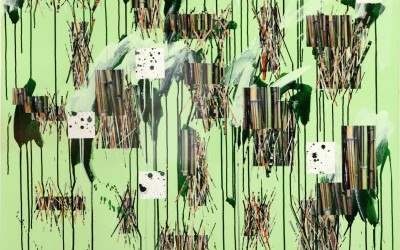 Under the Bam, Under the Boo VI, 2011. Digital imagery and acrylic on paper; 60 x 48 inches.