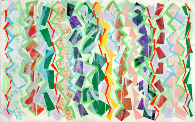 Future Steps II, 2012. Digital imagery and acrylic on paper, 45 x 67 inches.