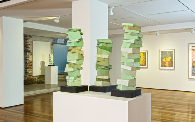 From left to right: Consolation Series XV, 2014. Painted wood construction, 28 x 9 x 9 inches. Private Collection. Consolation Series XII, 2014. Painted wood construction, 24 x 9 x 8 inches. Consolation Series XIV, 2014. Painted wood construction, 27.5 x 9 x 9 inches.