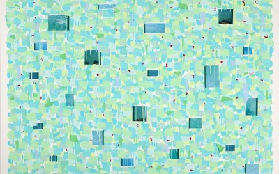 Renewal 783, 2008. Digital imagery, glass shards, and acrylic on canvas; 48 x 68 inches.