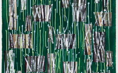 Bamboo Study III, 2011. Digital imagery and acrylic on paper; 40 x 28 inches.