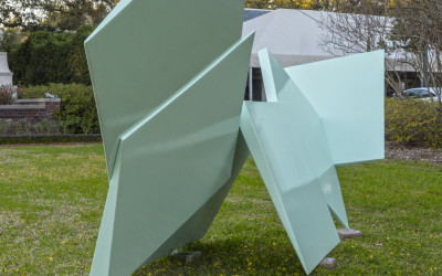 Consolations, I Carry Your Heart, 2014. Aluminum with automotive paint, 60 x 154 x 38 inches.