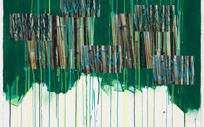 Bamboo Study IV, 2011. Digital imagery and acrylic on paper; 40 x 28 inches.