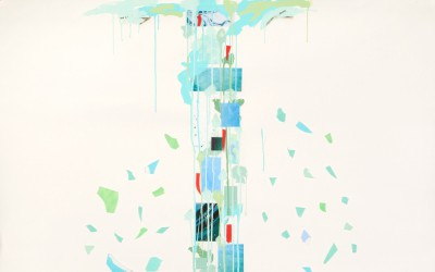 Renewal/Reprise, 2008. Digital imagery, glass shards, and acrylic on paper; 53 x 59 inches. Private collection.