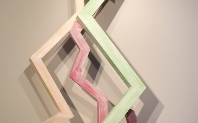 Ascending Virtues II, 2012. Painted wood construction, 51 x 26 x 12 inches.