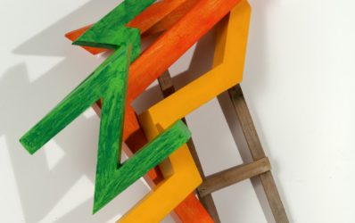Ascending Virtues, 2012. Wood, paint; 42 x 22 x 17 inches.
